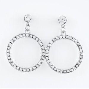 Rhinestone Circle Dangle Drop Earrings Silver Tone
